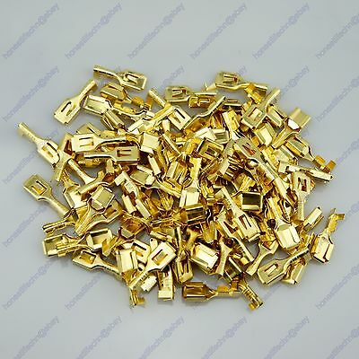 100 Car Vehicle 6.3mm Female Brass Electrical Wiring Connector Terminal With Tap