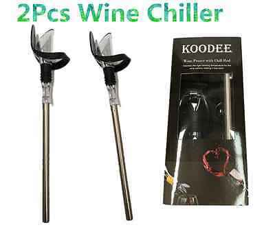 2PCS Stainless Steel Chill Stick with Pour Spout Wine Cooler In-bottle Chiller