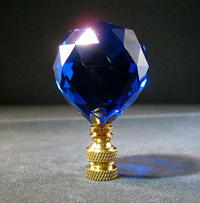 Lamp Finial-Stunning Leaded Crystal-Dark Blue/Brass Base