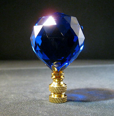 Lamp Finial-Stunning Leaded Crystal Lamp Finial-Dark Blue/Brass Base