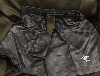 Umbro Soccer Shorts Youth Large Navy Blue Checkered Soft Size L Athletic NEW