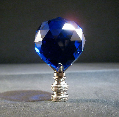 Lamp Finial-Stunning Leaded Crystal Lamp Finial-Dark Blue/Satin Nickel Base