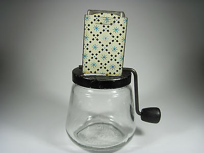 Nut Chopper Vintage Glass and Metal With Crank Handle
