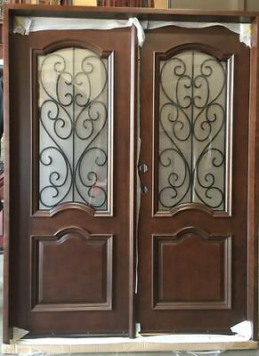 SUMMER SALE! Wood Iron Door Pre-hung &Finished DMH7501-5-IRON Frosted Glass