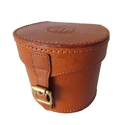 Tourbon Fly Fishing Hard Reel Case Spinning Carry Pouch Genuine Leather Vintage