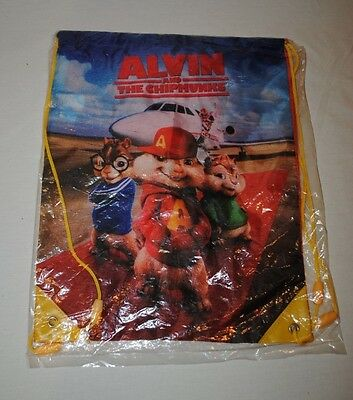 Alvin and the Chipmunks Drawstring Bag New In Package 2011 Red Yellow Blue White