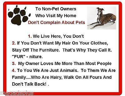 Funny Dog Greyhound  House Rules Refrigerator / Magnet Gift Card Insert