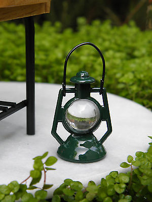 Miniature Dollhouse FAIRY GARDEN Accessories ~ Green Metal Lantern ~ NEW
