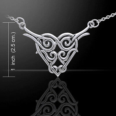 Celtic Knotwork .925 Sterling Silver Heart Necklace by Peter Stone