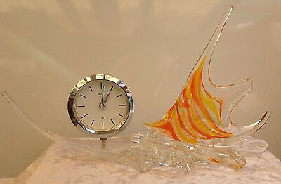 Original Stunning Huge Vintage Murano Glass Tropical Fish Clock 1960s Handcraft