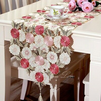 YAZI Vintage Embroidered Flower Table Runner Home Wedding Party Banquet Decor