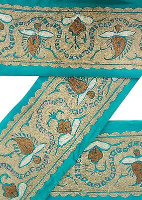 Vintage Sari Border Antique Embroidered Indian Trim Sewing Ribbon Blue Lace 1YD