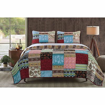 Beautiful Reversible Patchwork Bohemian Green Blue Red Bedspread Quilt Set New
