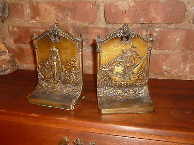 Fantastic pair of Vintage Bradley & Hubbard B&H  Book End Cast Iron Bronze Clad