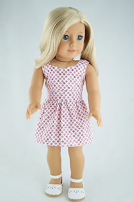 Daytime Dress White-Pink Dots American Made Doll Clothes For 18 Inch Girl Dolls