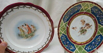 2 old plates CHILD ANGELS on both / lady dreams & dancing girls / beehive markd