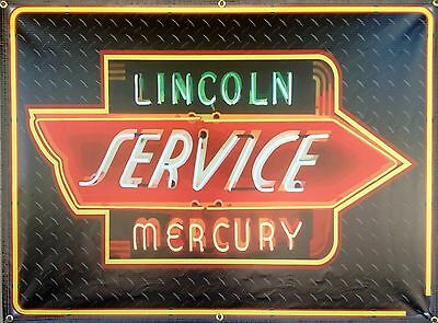 Lincoln Mercury Gas/service Station Neon Style Banner Sign Garage Art 4' X 3'