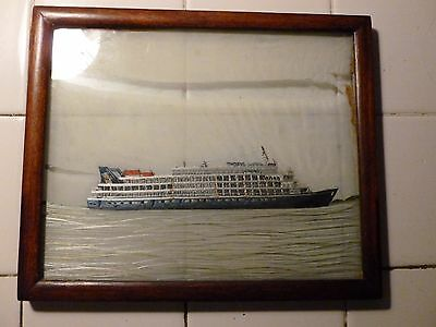 Rare Early 20Th Century Embroidered Silk Of A  Cruise Ship Nautical Interest