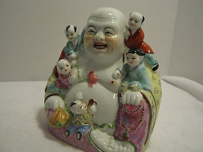 Antique Chinese Art History- Laughing Buddah With Babies Rose Famille (Marked)