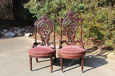 Fine Pair of Heavily Pierced Carved Walnut Victorian Rococo Lady & Gents Chairs