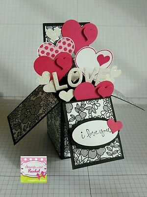 Handmade card, card in a box, Anniversary/love ,black & pink hearts,stampin up