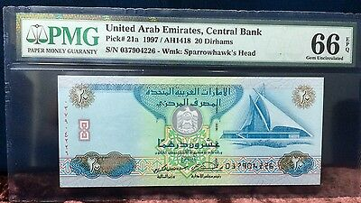 UAE 20 Dirhams third Issue 1997 grade 66 PMG. First issue of 20 RARE NOTE.
