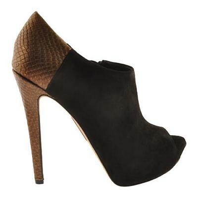 ENZO ANGIOLINI LOVES it Black Suede Peep Toe Leather Booties Size 10 ... 56f33898c
