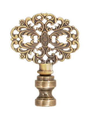 "VICTORIAN STYLE LACE LAMP FINIAL ~ Antique Brass Finish  { 2 3/8"" Tall} ~ by PLD"