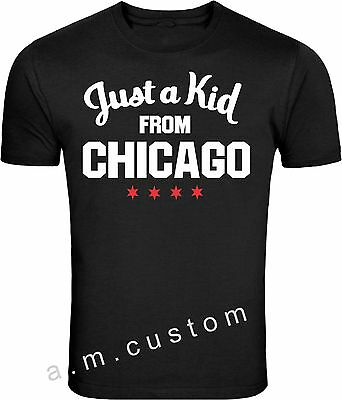 Just a KID From Chicago  Windy City Skyline City of Chicago Flag  T Shirt S-4XL