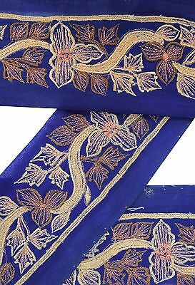 Vintage Sari Border Antique Used Embroidered Indian Trim Blue Ribbon 1YD Lace