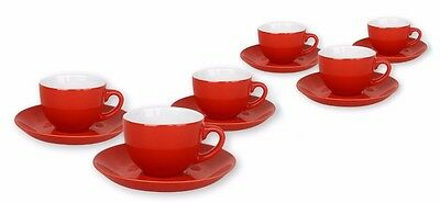 6 Porcelain Espresso Coffee Cups Set With Saucers Red