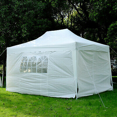 Outsunny 4.5mx3m Pop Up Gazebo Party Tent Canopy Marquee with Storage Bag White
