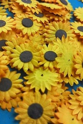50 Mini Mulberry Paper Flowers Sunflowers  Wedding Card Yellow Color Crafts