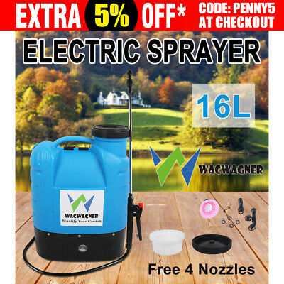 WACWAGNER 16L Electric Weed Sprayer Rechargeable Farm Garden 12V Pump Spray 2017