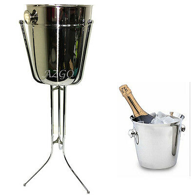 AZ SELLER Stainless steel Ice bucket Wine Cooler Bowl Champagne With RackHolder
