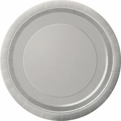 "16 Plain Silver Round Paper Plates 9"" New Year Birthday Tablewear Catering"