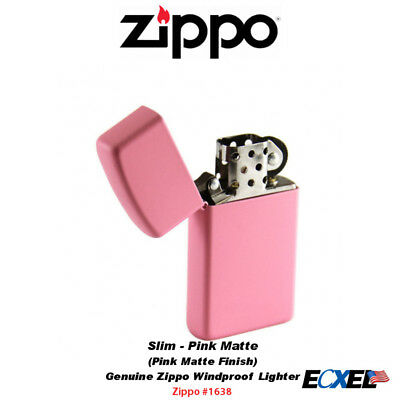 Zippo #1638 Slim Pink Matte Lighter, Refillable USA Genuine Windproof