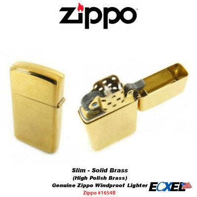 Zippo #1654B Solid Brass High Polish Lighter, Slim, USA Genuine Windproof