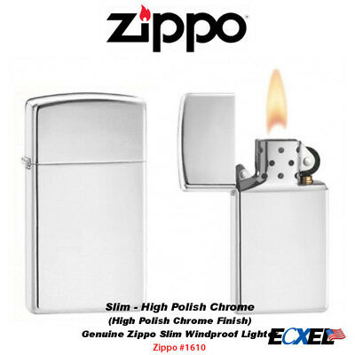 Zippo 1610, High Polish Chrome Finish Lighter, Slim, Genuine USA Windproof