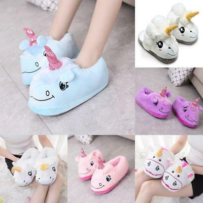Adults Warm Casual Slippers Unicorn Slip On Winter Indoor Soft Comfy Slipper LH