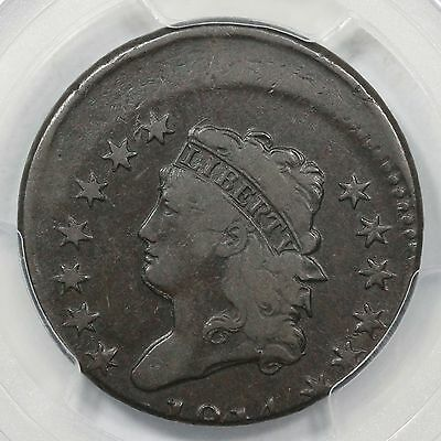1814 PCGS F 12 Plain 4 Off Center Classic Head Large Cent Coin 1c