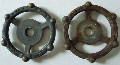 2 Industrial Oil Refinery Cast Iron Water Valve Handles Steampunk  Lot #5