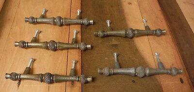 "5 Vintage Metal Ornate Drawer Pulls 5.5 Handle Knob Hardware 3"" Center 2 Screws"