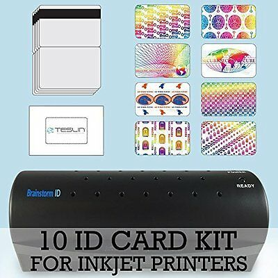 10 ID Card Kit - Laminator, Inkjet Teslin, Butterfly Pouches, and Holograms - ID
