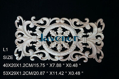 40x20x1.2cm Wood Carved Long Onlay Applique Unpainted Wall Door Cabinet L1 QTY.1