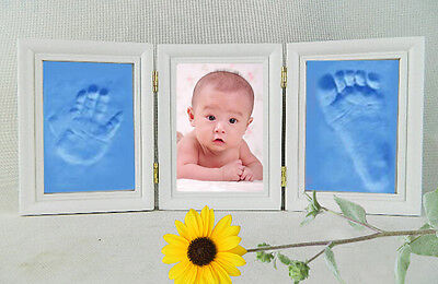Baby Photo Frame Double Footprint Foot Hand Print Cast Set Kit Christening Gift