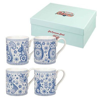 NEW The Caravan Trail Penzance Fine China Mugs in Giftbox  Set of 4  Floral