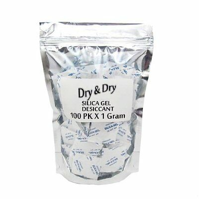 """1 Gram Pack of 100 """"Dry&Dry"""" Silica Gel Packets Dehumidifier"""