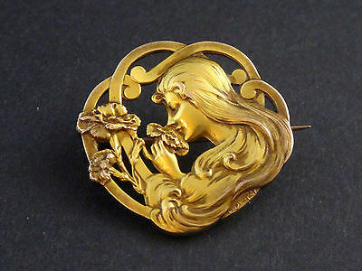 Superb Antique French Gold Plated Art Nouveau Brooch Lady Signed E.dropsy