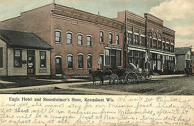 A View of the Eagle Hotel & Rosenheimer's Store, Kewaskum WI 1908
